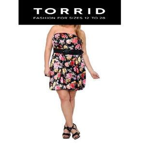 Torrid Black Floral Bubble Dress Sz 1X